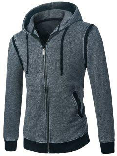 Hooded Detachable Long Sleeves Zip Up Hoodie - Deep Gray Xs