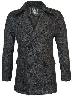 Lapel Two Button Warm Wool Blend Coat - Black Xl
