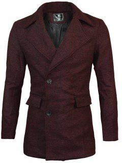 Lapel Two Button Warm Wool Blend Coat - Wine Red Xl