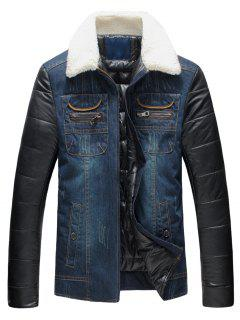 Faux Fur Collar PU Leather Panel Padded Denim Jacket - Blue 4xl