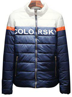 Stand Collar Graphic Print Color Block Padded Jacket - Deep Blue 3xl