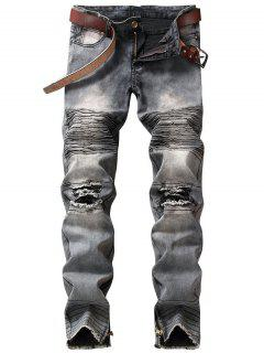Light Wash Zipper Hem Distressed Biker Jeans - Gray 34