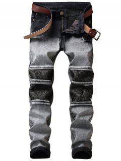 Faux Leather Insert Two Tone Biker Jeans - Gray 30