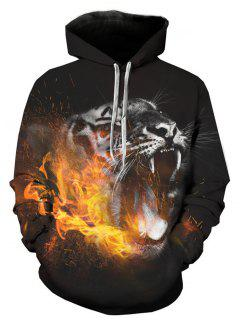 Hooded 3D Leopard Flame Print Pullover Hoodie - L