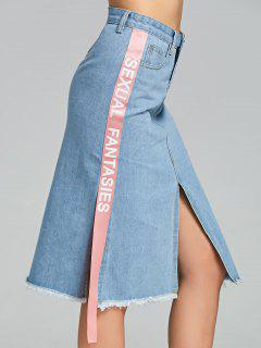 Slit Side Letter Denim Skirt - Light Blue L