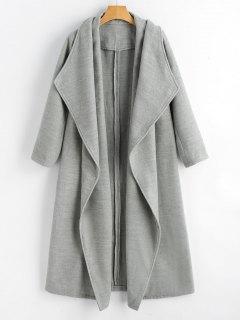 Wool Blend Shawl Collar Waterfall Coat - Gray M