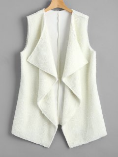 Open Front Textured Waterfall Waistcoat - White