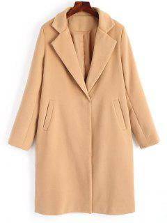 Wool Blend Snap Buttoned Plain Coat - Camel S
