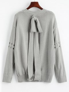 Bowknot Ripped Cut Out Sweater - Gray
