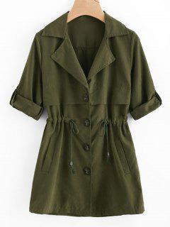 Waist Drawstring Trench Coat - Army Green L