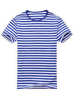 Camiseta De Manga Corta Con Rayas Con Mezcla De Algodón - Azul Y Blanco 2xl