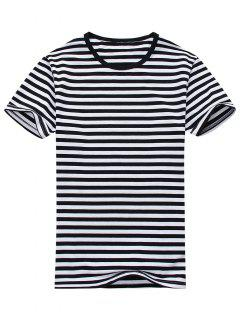 Cotton Blend Striped Short Sleeve Tee - White And Black L