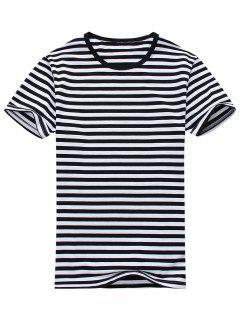 Camiseta De Manga Corta A Rayas Con Mezcla De Algodón - Blanco Y Negro L