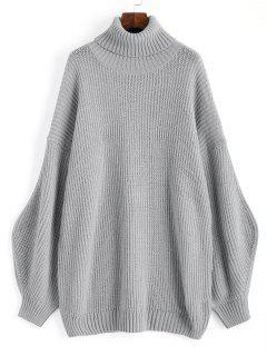 Übergröße Pullover Mit Laternenärmel Und Rollkragen  - Grau