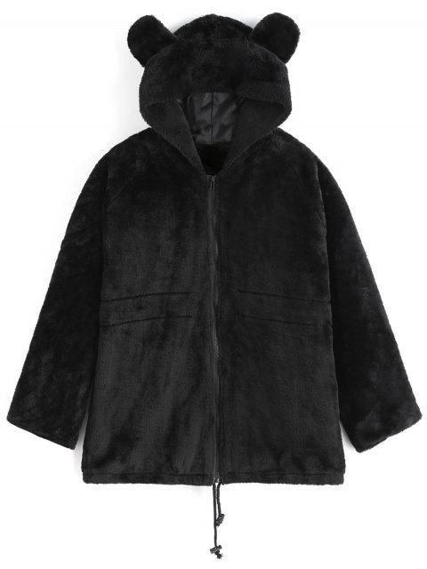 Abrigo de piel sintética con capucha - Negro L Mobile