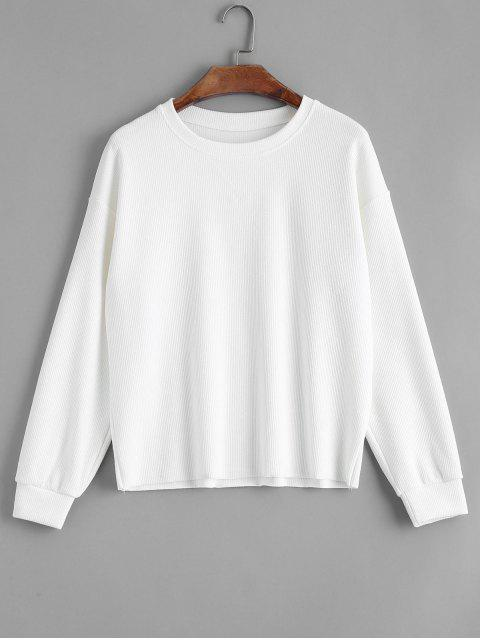 outfits Loose Knitted Ribbed Sweatshirt - WHITE ONE SIZE Mobile