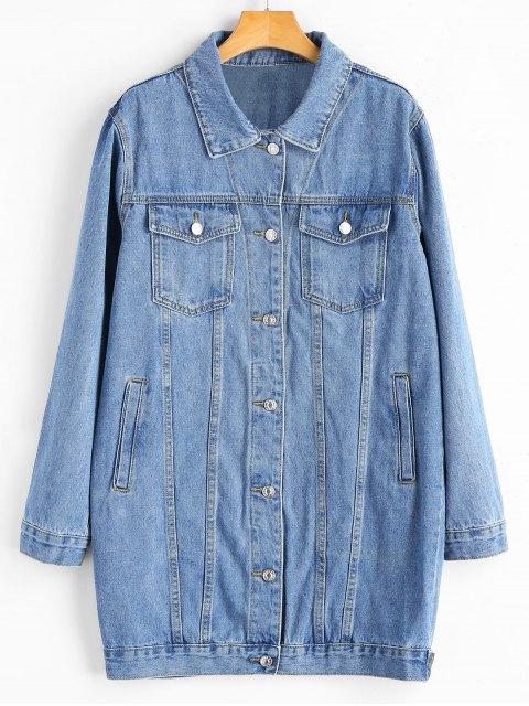 shop Buttoned Tads Hem Button Up Denim Coat - DENIM BLUE M Mobile