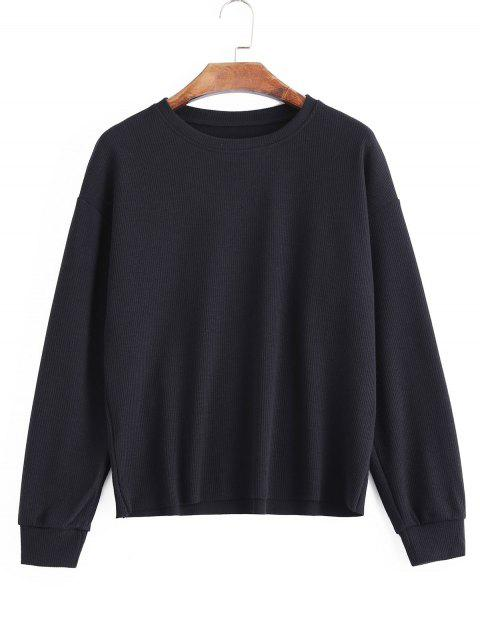 shops Loose Knitted Ribbed Sweatshirt - BLACK ONE SIZE Mobile