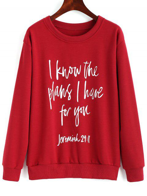 women's Drop Shoulder Letter Print Pullover Sweatshirt - RED M Mobile