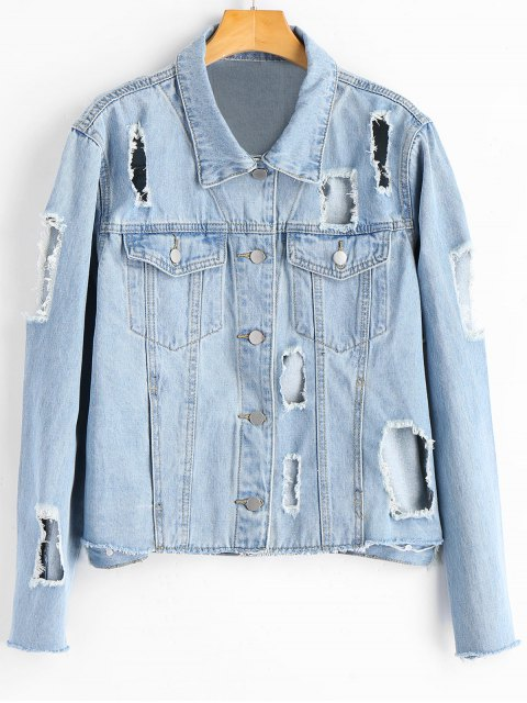best Button Up Destroyed Frayed Denim Jacket - DENIM BLUE M Mobile