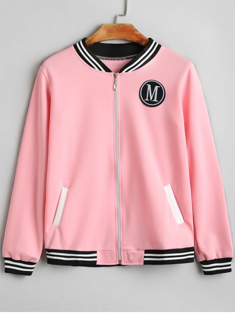 lady Letter Badge Patched Zip Up Jacket - PINK XL Mobile