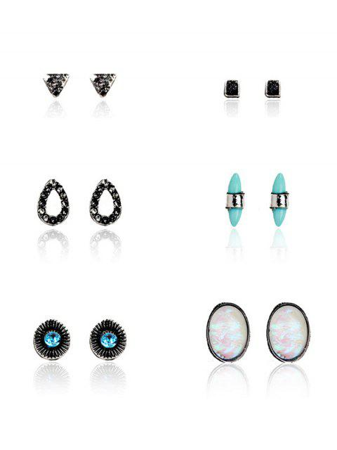 Faux Gem Turquoise Bohemian Stud Earring Set - Pattern A  Mobile