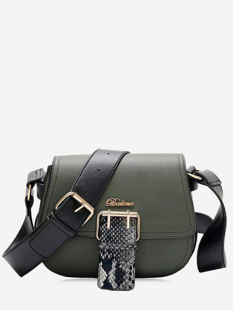 buy Buckle Strap Snake Print Letter Crossbody Bag - GREEN  Mobile