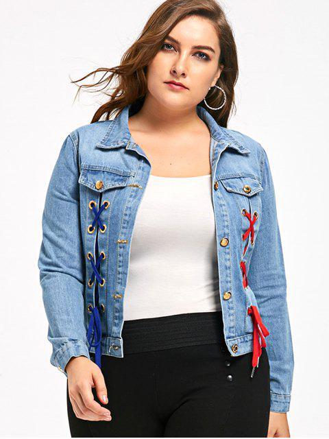 Veste en jean à grande taille - Bleu Toile de Jean 5XL Mobile