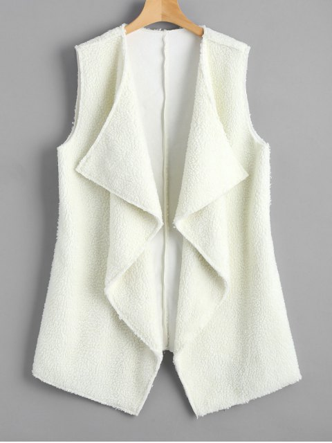 fancy Open Front Textured Waterfall Waistcoat - WHITE ONE SIZE Mobile