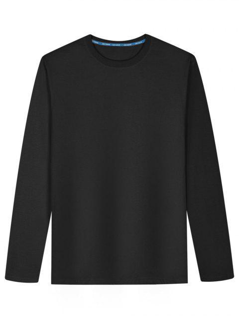 T-shirt en Coton Mélangé à Manches Longues - Noir L Mobile