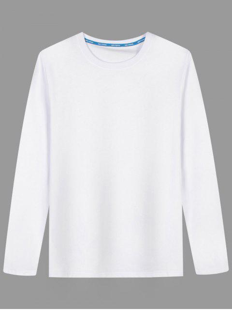 Langarm-Baumwollmischung T-Shirt - Weiß 2XL Mobile