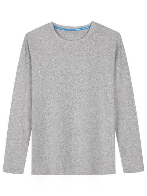 T-shirt en Coton Mélangé à Manches Longues - Gris L Mobile