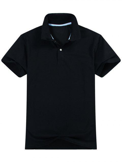 Chemise Polo à Manches Courtes en Coton Mélangé - Noir L Mobile