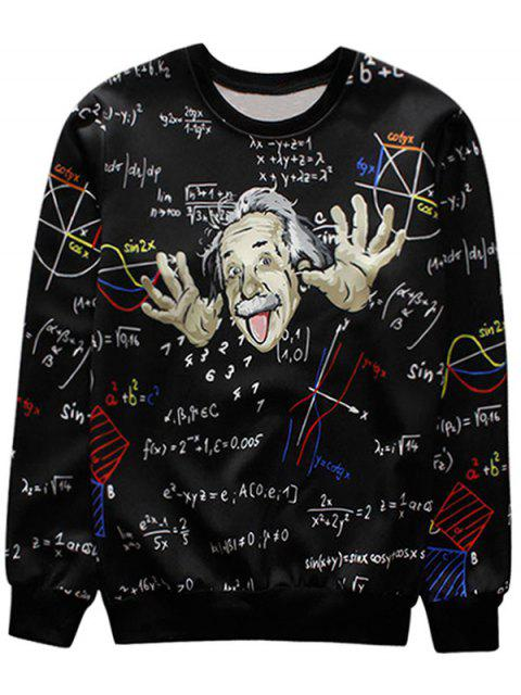 best Function Graphic Crew Neck Sweatshirt Men Clothes - BLACK M Mobile