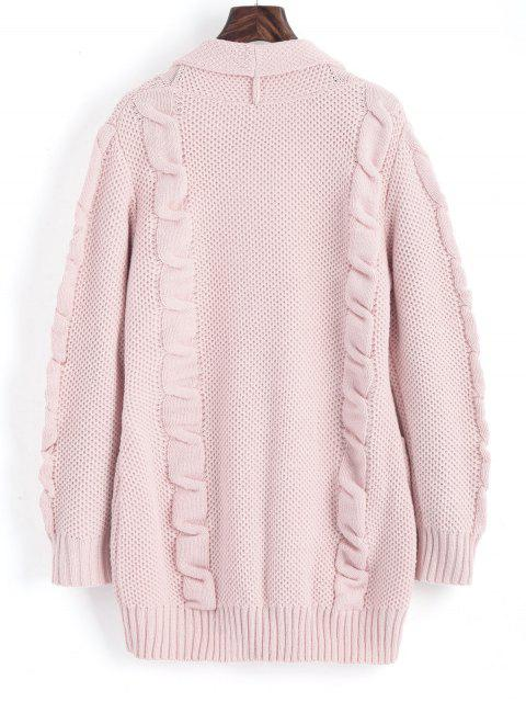 new Shawl Collar Cable Knit Cardigan - PINK L Mobile