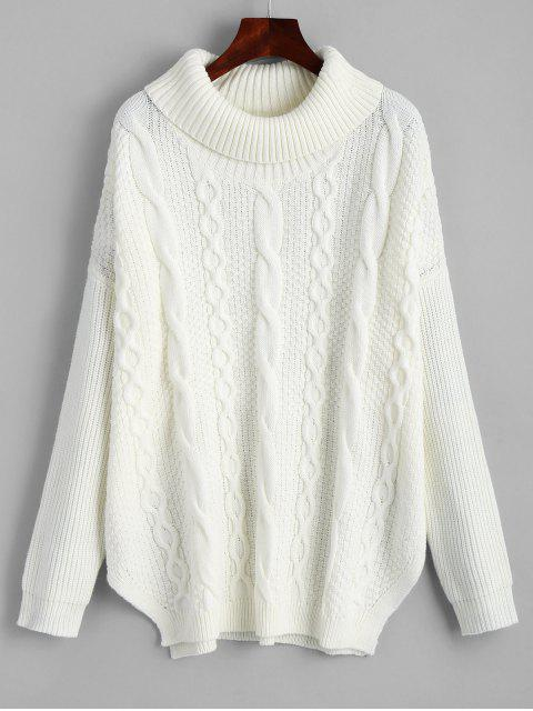 affordable Oversized Turtleneck Cable Knit Sweater - WHITE ONE SIZE Mobile
