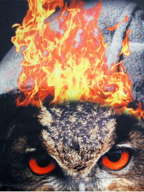 latest Hooded 3D Owl Flame Print Pullover Hoodie - COLORMIX L Mobile