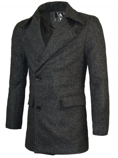 unique Lapel Two Button Warm Wool Blend Coat - BLACK XL Mobile