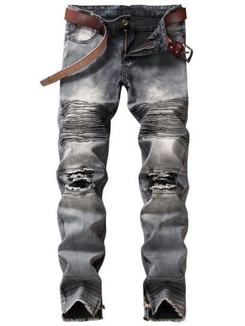 Light Wash Zipper Hem Distressed Biker Jeans - Grau 30 Mobile