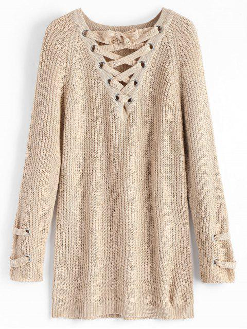 ladies Plain Lace Up Pullover Sweater - LIGHT KHAKI ONE SIZE Mobile