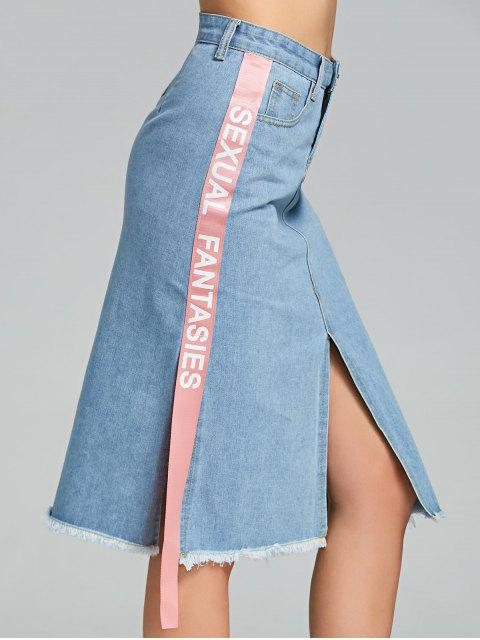 ladies Slit Side Letter Denim Skirt - LIGHT BLUE M Mobile
