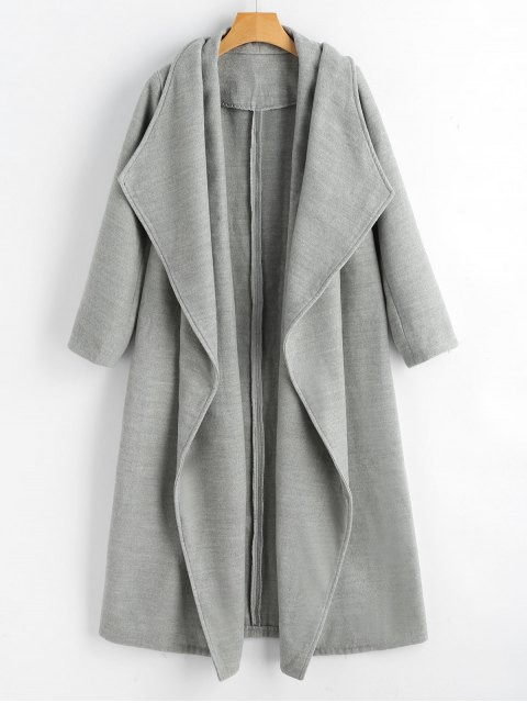 best Wool Blend Shawl Collar Waterfall Coat - GRAY M Mobile