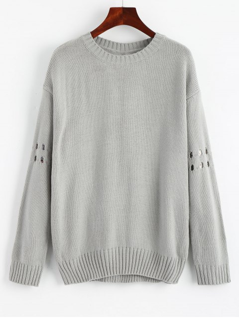 lady Bowknot Ripped Cut Out Sweater - GRAY ONE SIZE Mobile