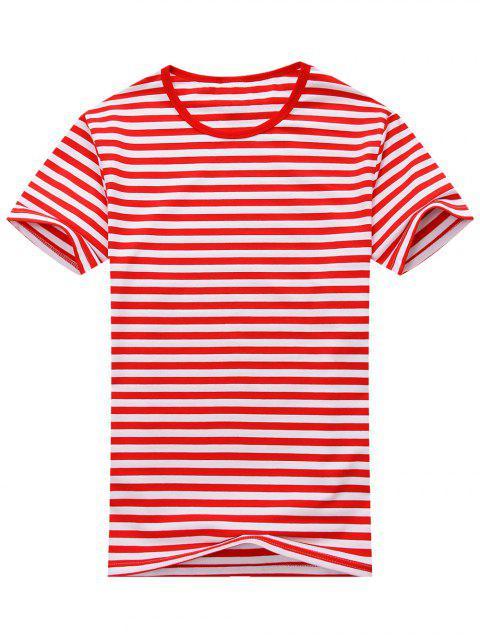 T-shirt Rayé à Manches Courtes en Coton Mélangé - Rouge et Blanc L Mobile