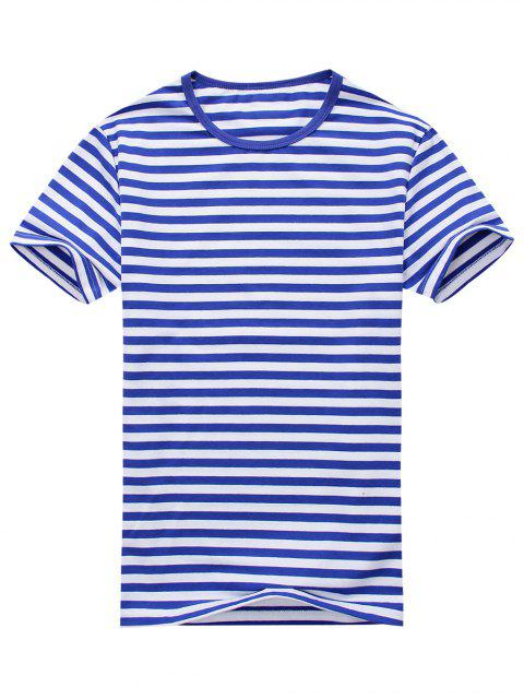 T-shirt Rayé à Manches Courtes en Coton Mélangé - Bleu et Blanc L Mobile