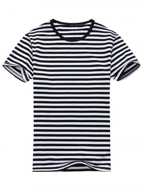 chic Cotton Blend Striped Short Sleeve Tee - WHITE AND BLACK L Mobile