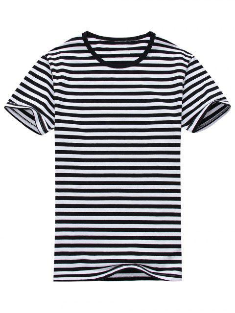 T-shirt Rayé à Manches Courtes en Coton Mélangé - Blanc et Noir L Mobile