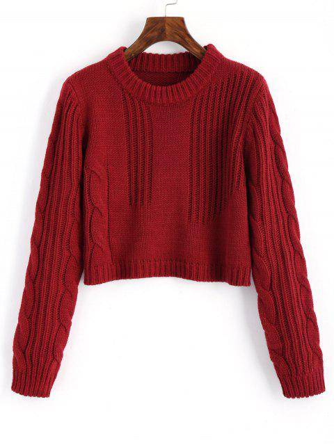 shop Cable Knit Panel Pullover Cropped Sweater - WINE RED ONE SIZE Mobile