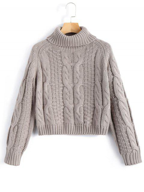 lady ZAFUL Turtleneck Cropped Cable Knit Sweater - GRAY L Mobile