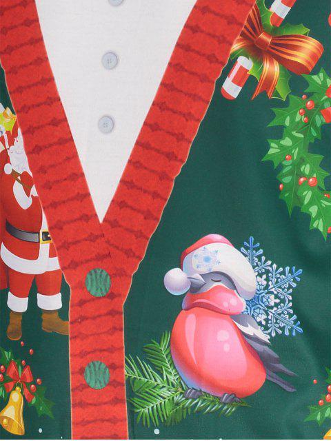 Santa Claus 3D Print Christmas Tee - 綠色 2XL Mobile
